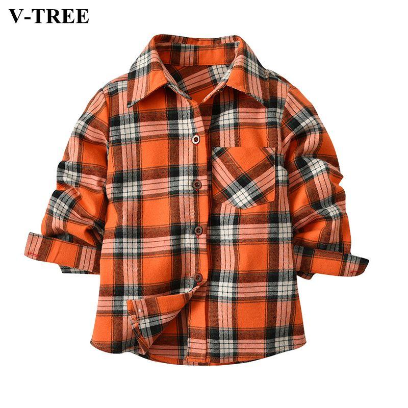 5731ea55b V-TREE Niños Camisetas Primavera Otoño Camisa A Cuadros de Manga Larga Para  2-7 T niños Niñas Niños Tops de La Escuela ropa de Los Niños Blusa de  Algodón