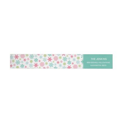 Colourful Snowflakes Christmas Address Label  Holiday Card Diy