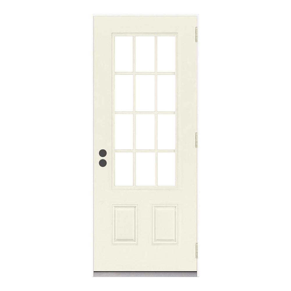 Jeld Wen 32 In X 80 In 12 Lite Primed Steel Prehung Left Hand Outswing Back Door Thdjw190900021 Front Door Diy Interior Decor Primed Doors