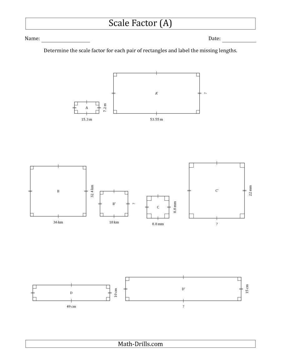 The Determine The Scale Factor Between Two Rectangles And Determine The Missing Lengths Scale Factors Geography Worksheets Scale Drawing Printable Worksheets [ 1165 x 900 Pixel ]