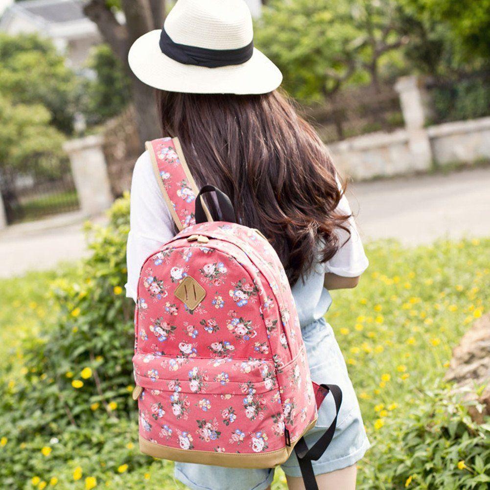 b6f3fbc3c8848 Leaper wasserdichte Leinwand + PVC Schicht Schule Rucksack hübsch floral  Laptop Tasche lässig Daypack (Weiß)  Amazon.de  Koffer