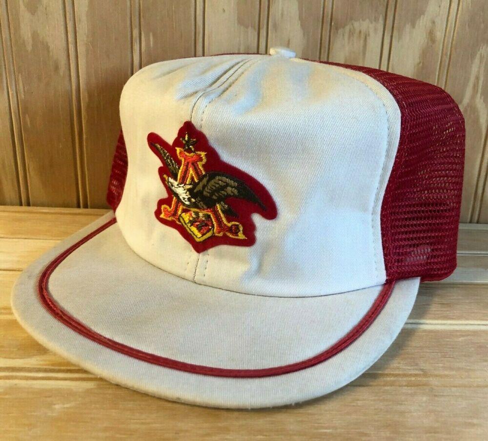 Vintage Busch Beer Trucker Snapback Hat Anheuser Made in U.S.A Nascar Racing