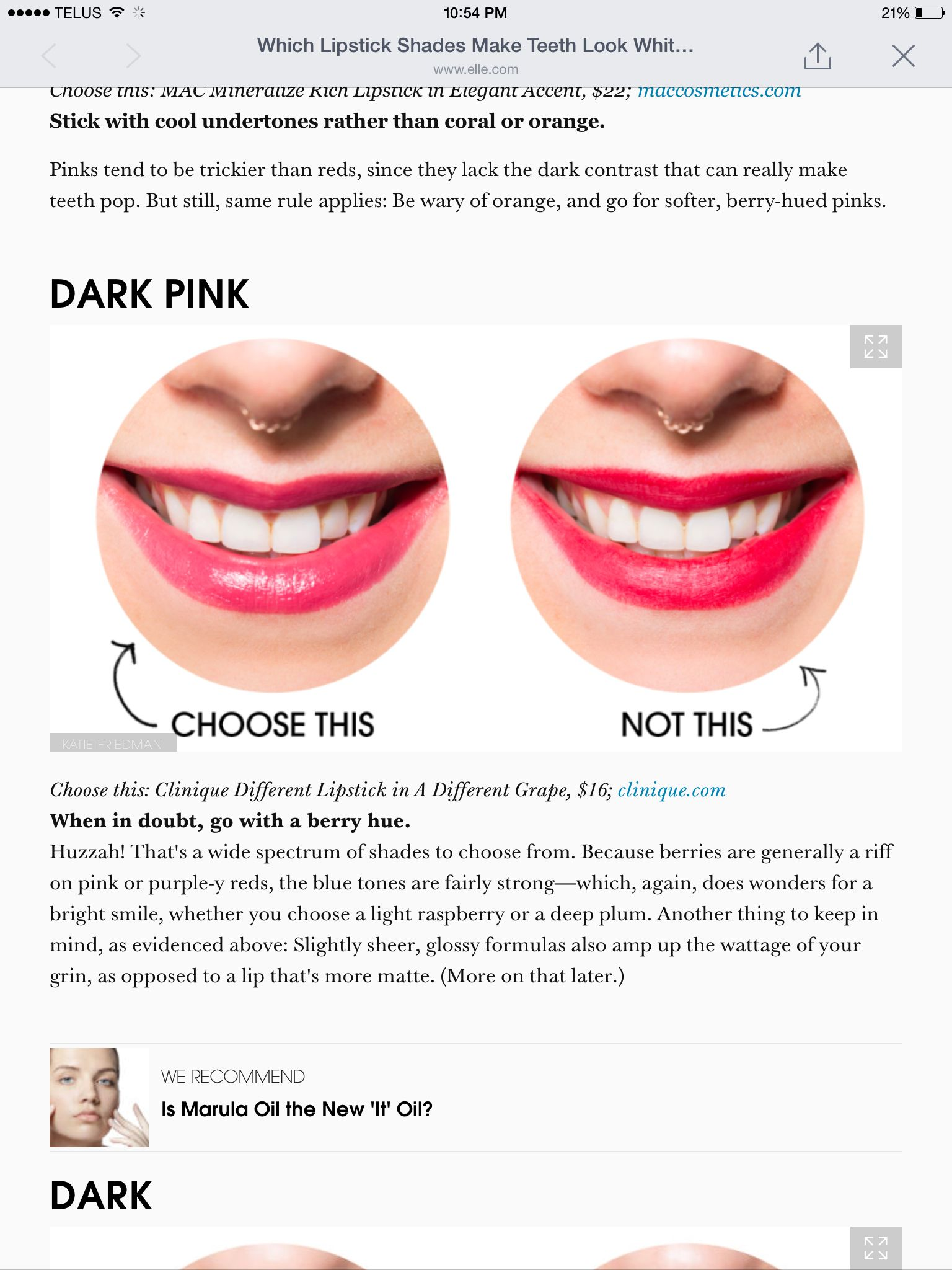 The right pink lipstick for white teeth Cool undertones