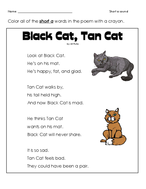 Short \'a\' Cat Poem | Cat poems, Free printable worksheets and ...