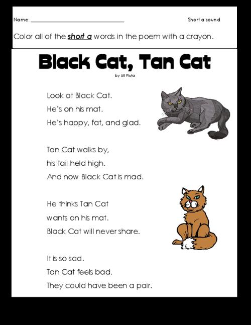 Short a Cat Poem – Poetry Comprehension Worksheets
