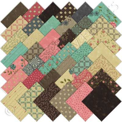 Moda Rambling Rose Charm Pack, Set of 42 5x5-inch (12.7x12.7cm) Precut Cotton Fabric Squares