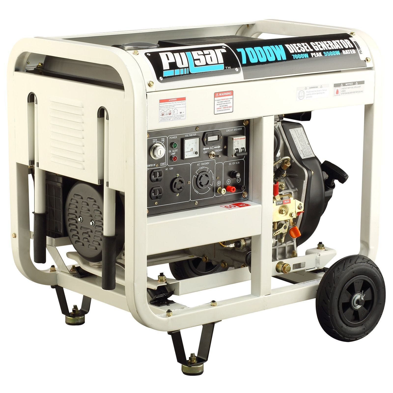 Pulsar Products 7 000 watt Diesel Powered Portable Generator with