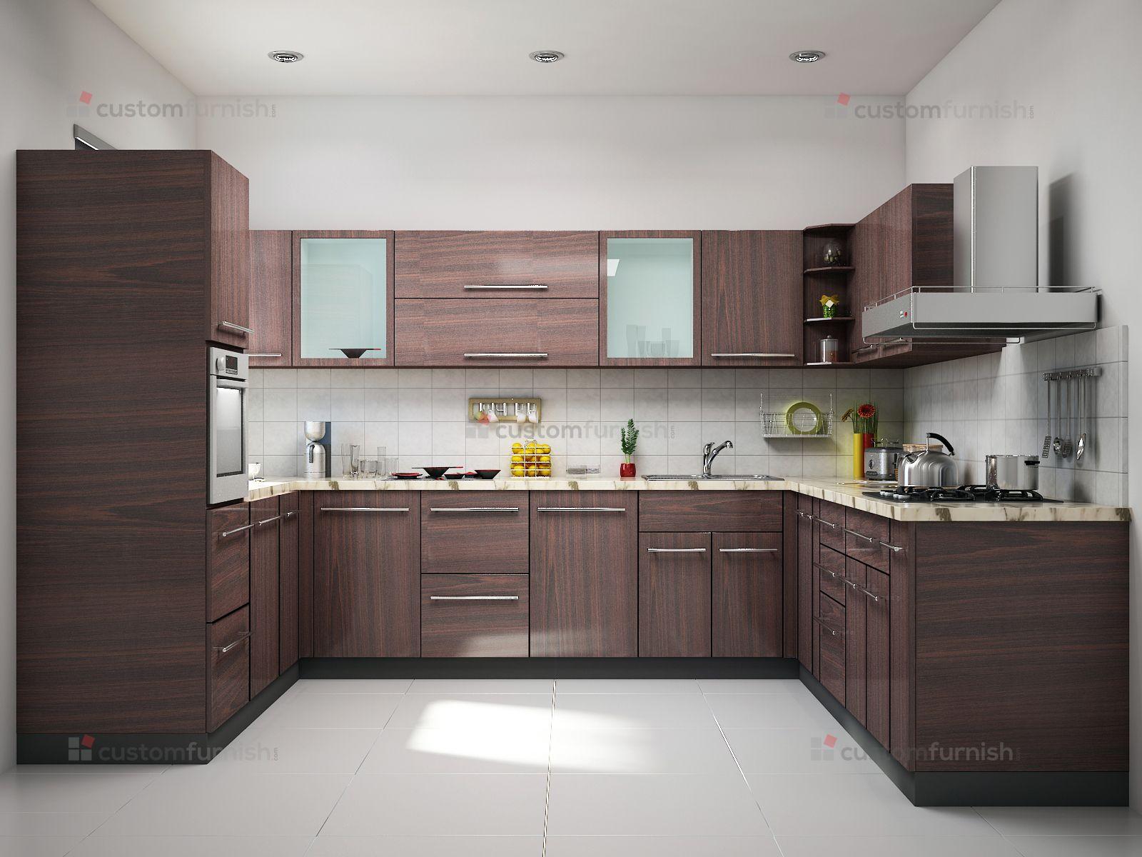 Brown U shaped kitchen design Kitchen furniture design