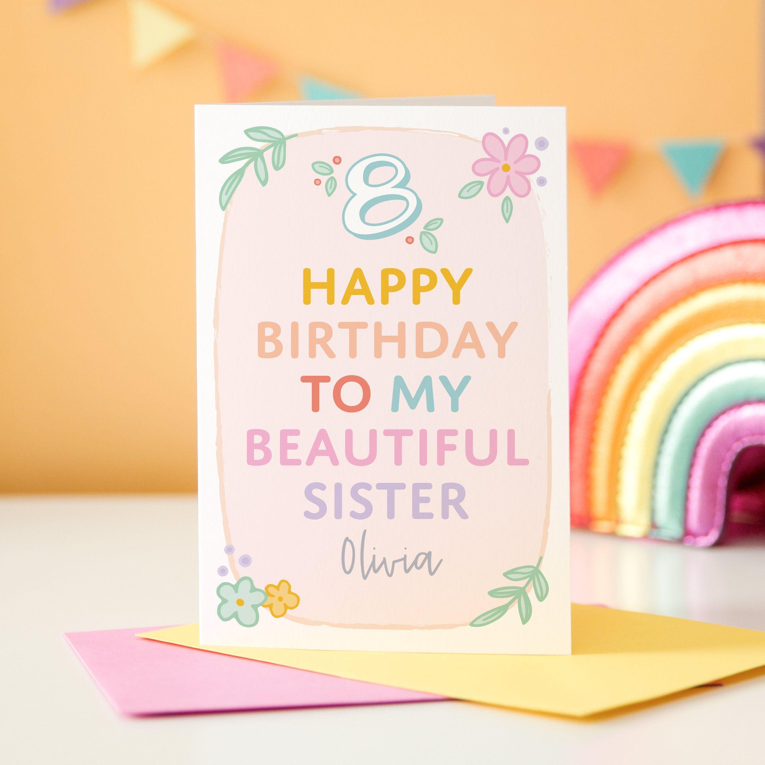 Personalised Girafe anniversaire Card Daughter Granddaughter Sister