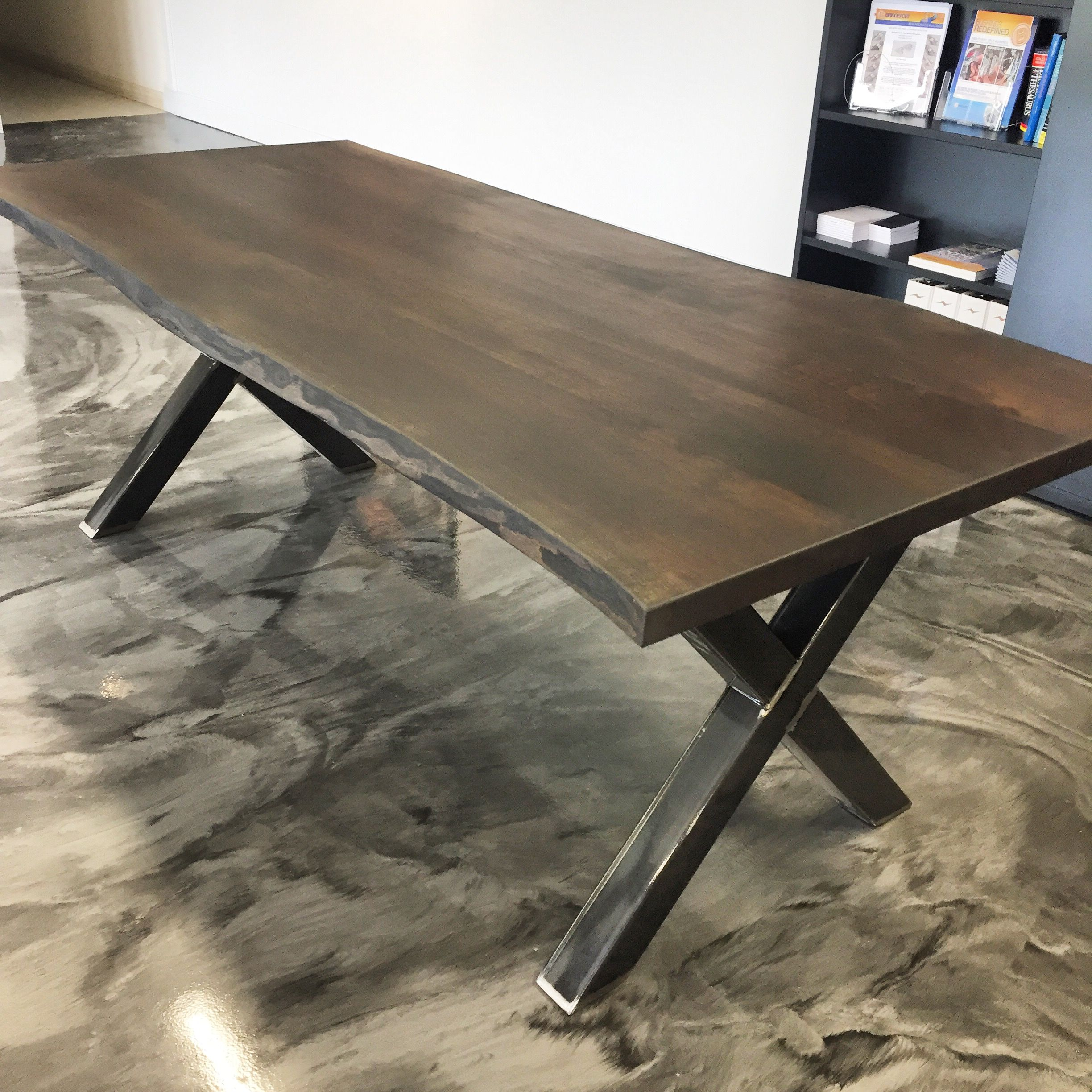 "Custom live edge table with steel ""X"" frame legs visit ..."
