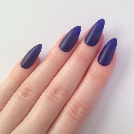 Matte Indigo Stiletto nails, Nail designs, Nail art, Nails, Stiletto ...