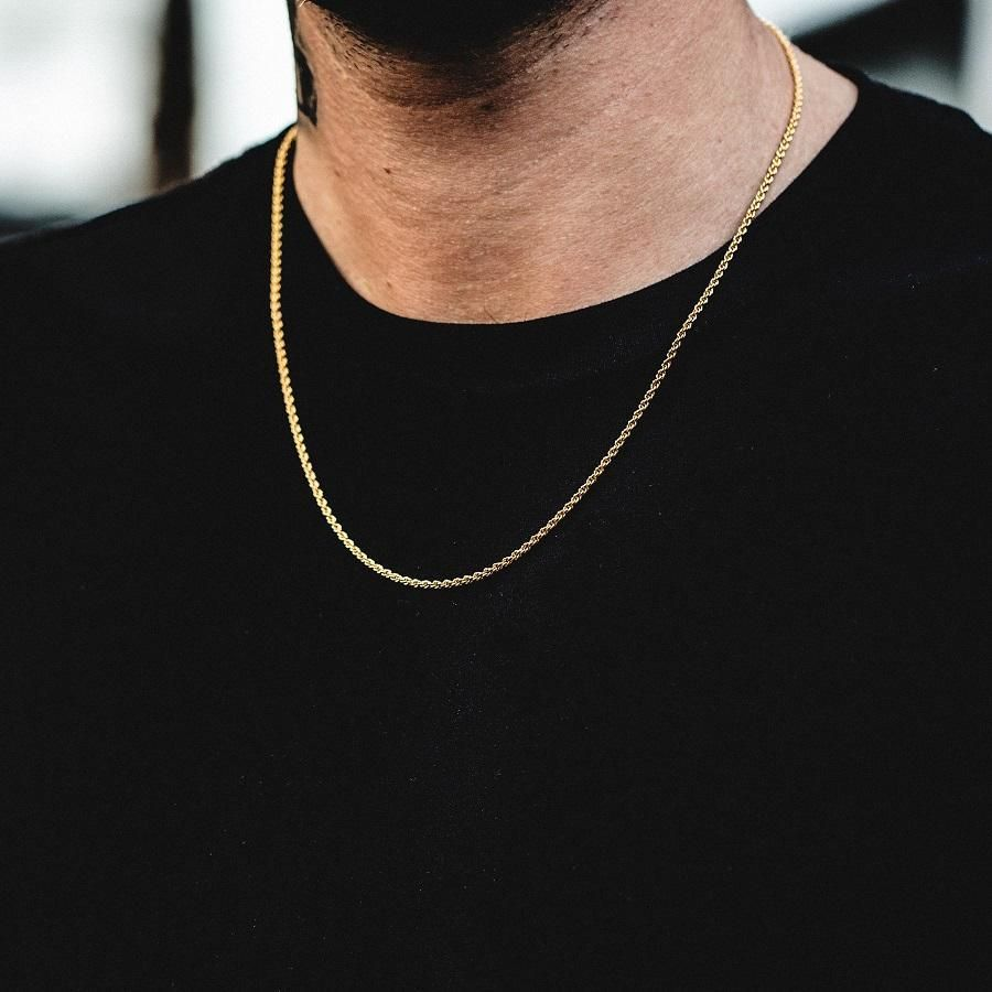 Rope Chain 2mm Mens Chain Necklace Gold Necklace For Men Gold Rope Chains