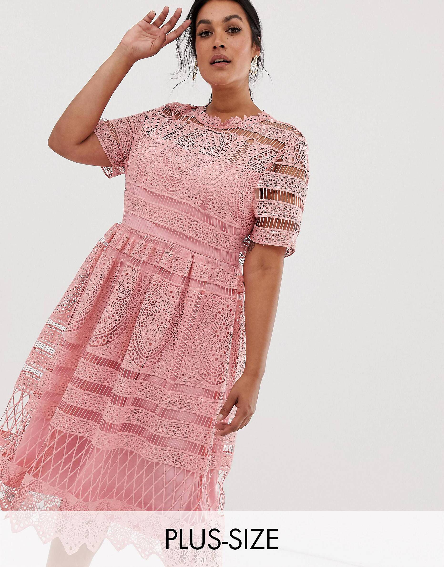 92cf49ee854a Boohoo Plus exclusive crochet lace midi dress in blush in 2019 ...
