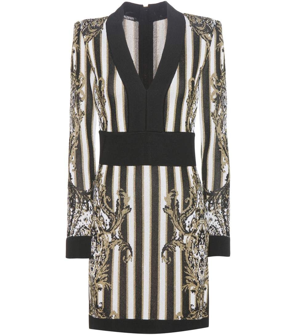 Balmain knitted brocade dress the black and white design is