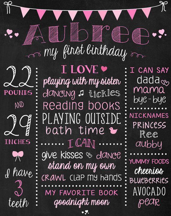 Pink Birthday Chalkboard Baby Girl Birthday by ChalkType on Etsy