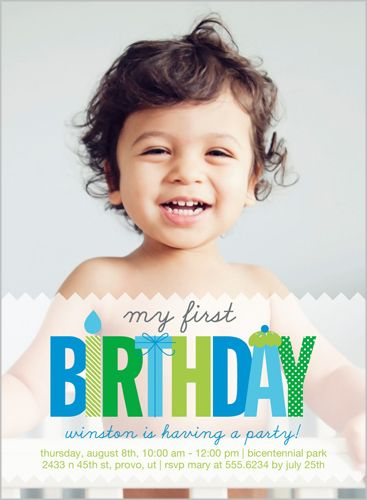 My First Baby Boy Birthday Invitation Boy Birthday
