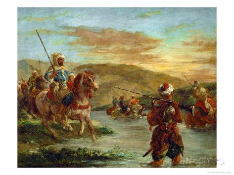 Fording a River in Morocco, 1858 Giclee Print by Eugene Delacroix at AllPosters.com