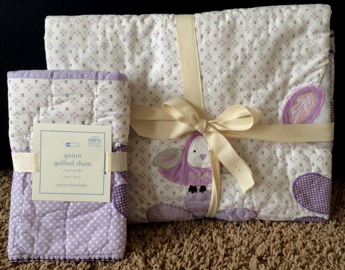 Pottery Barn Kids Quinn Toddler Quilt Sham Owl Snowbirds New Purple Crib | eBay