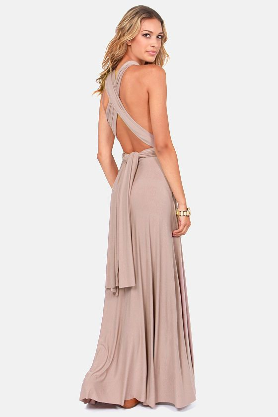 Tricks of the Trade Taupe Maxi Dress | Taupe, Maxi dresses and Hemline