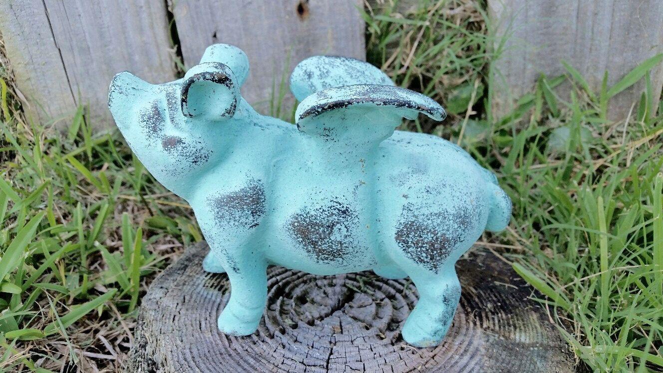 Cast Iron Flying Pig   Cast Iron Decor, Flying Pig Garden Statue, Cast Iron