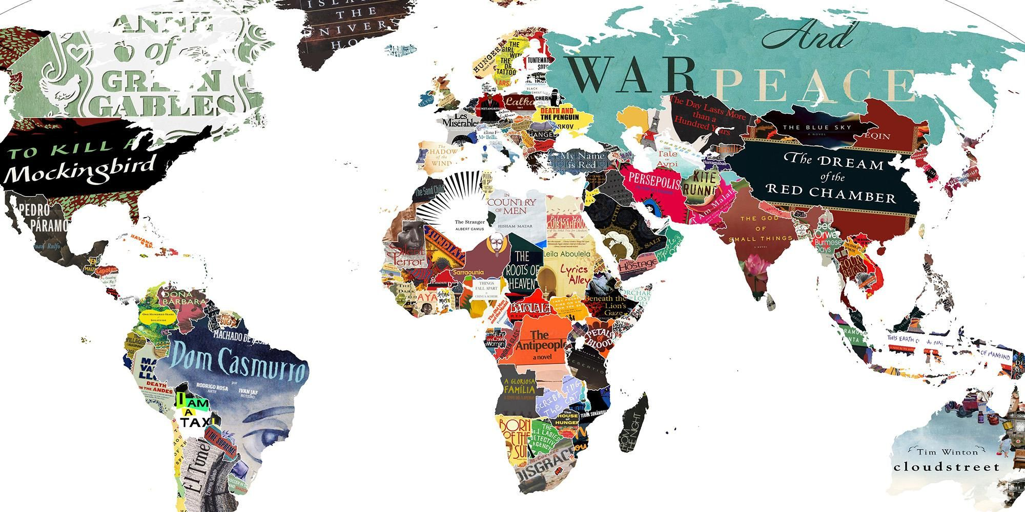 A map with the most important book of each country http