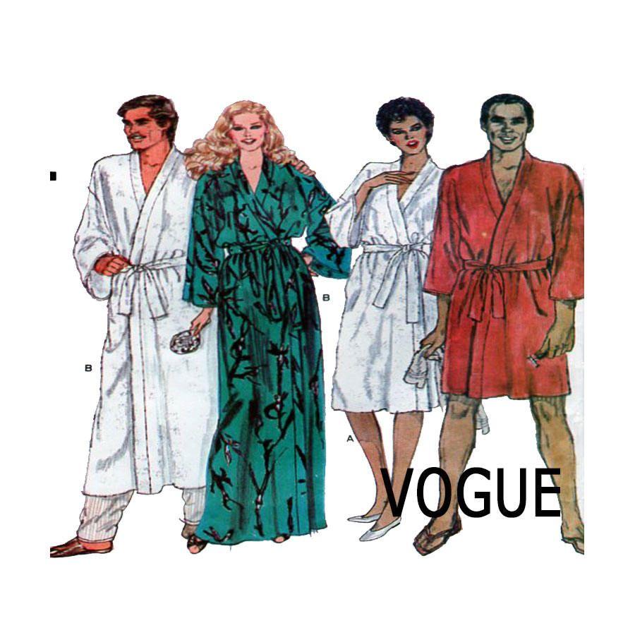 Vogue 8155, Unisex, Men, Women, Robe, Dressing Gown, Bathrobe ...