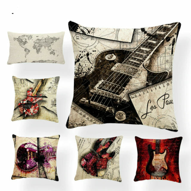 Banjo Guitar Pillow Cases Music Gifts Bedding Instruments Pillowcases Pillow Covers Graduation Gift Electric Guitar