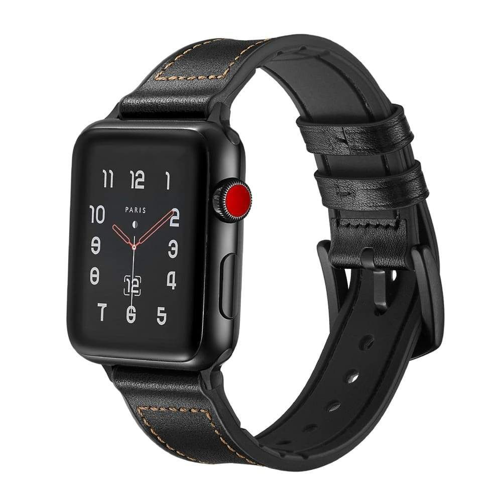 Apple Watch Series 5 4 3 2 Band, Leather over Silicone