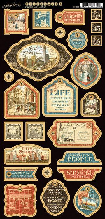 Graphic 45 - Cityscapes - Decorative Chipboard | Vintage ...