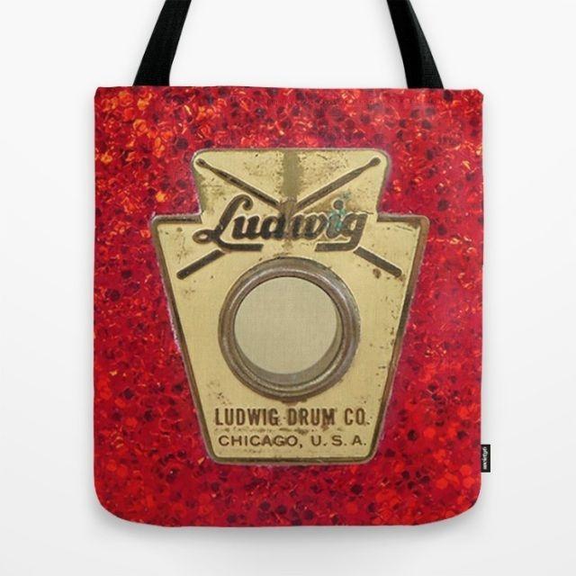 Tote bag with a photo of a vintage 60s Ludwig drum badge #vintagedrum #drummer