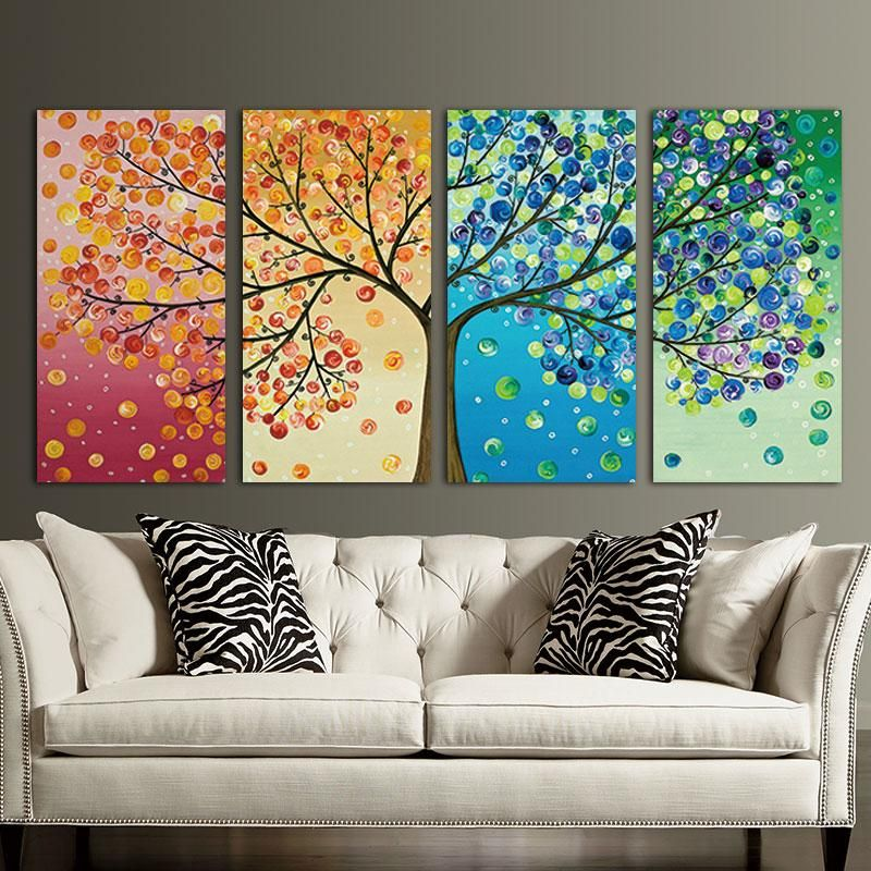4 Piece Panel Wall Art Set Will Breathe Life Into Your Space With Vibrant Colors Whimsical Tree With Twisting Branches And Falling L Home Decor Paintings Canvas Wall Art Colorful Wall Art