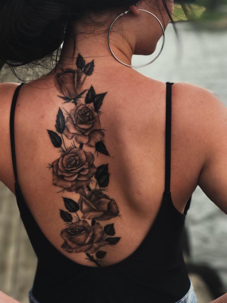 Girl Back Tattoo : tattoo, Cheryl, Brink, Tattoos,, Spine, Tattoos, Women,, Women, Flowers