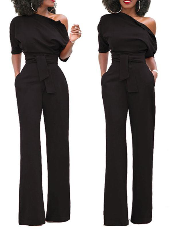 Womens Cold Shoulder One Sleeve Jumpsuit Party Club Rompers Bodysuit with Belt