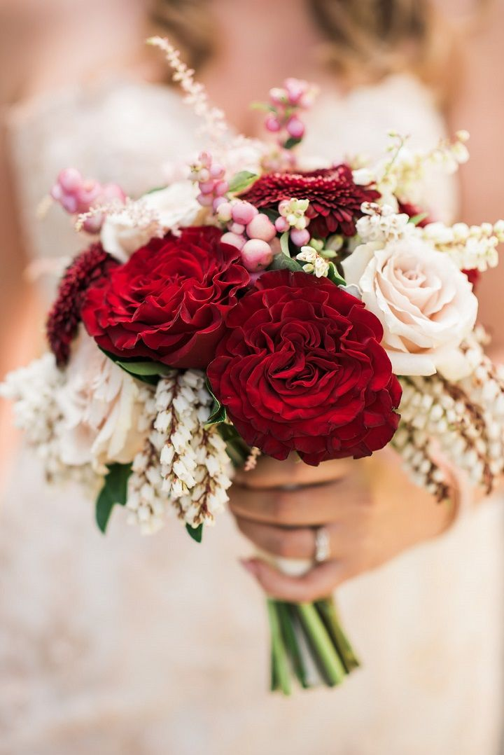Blush And Red Winter Wedding Bouquet Bridal Ideas
