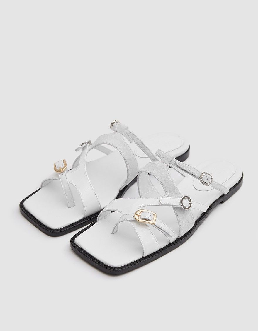 95fe0ac521d0 Mixed material sandal from MM6 Maison Margiela in White. Leather
