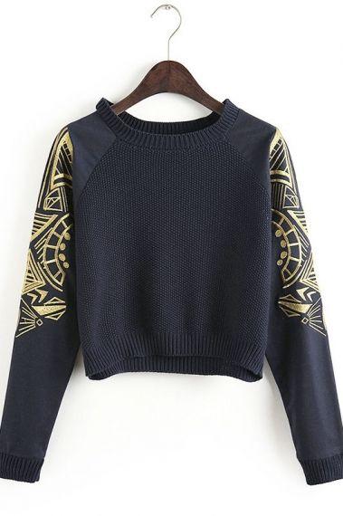 Black Long Sleeve Geometric Print Sweatshirt