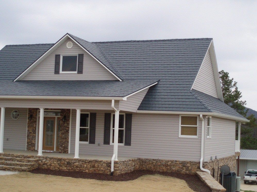 Best Blue Grey Shingles With Tan Grey Siding Metal Shingles 400 x 300
