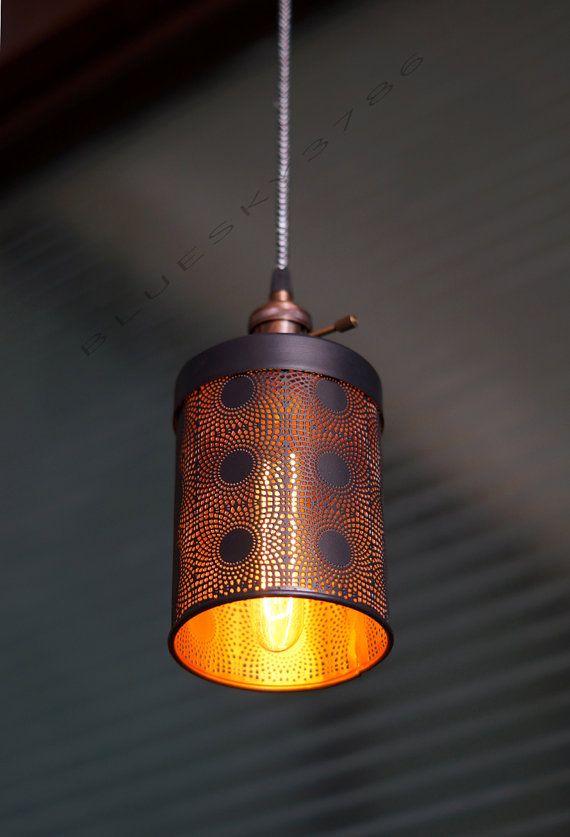 Hip Vintage Industrial drop light Pendant Fixture - Industrial retro restaurant bar dining room Fixture Tube Mesh Light