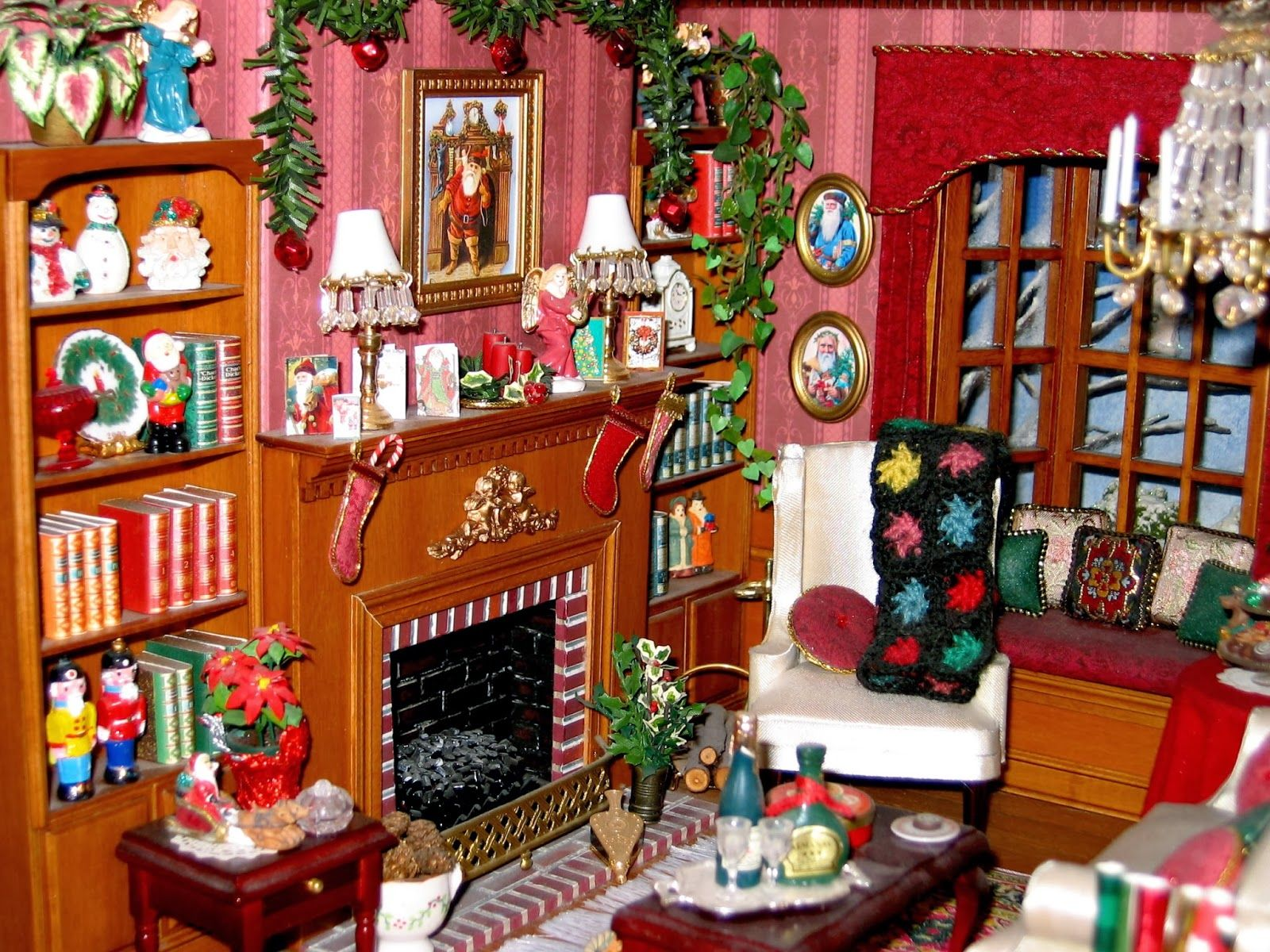 Dollhouse Miniatures Christmas Room Box 1 12 Scale As Living Room Z Dollhouse Christmas Dollhouse Holiday Miniature Christmas