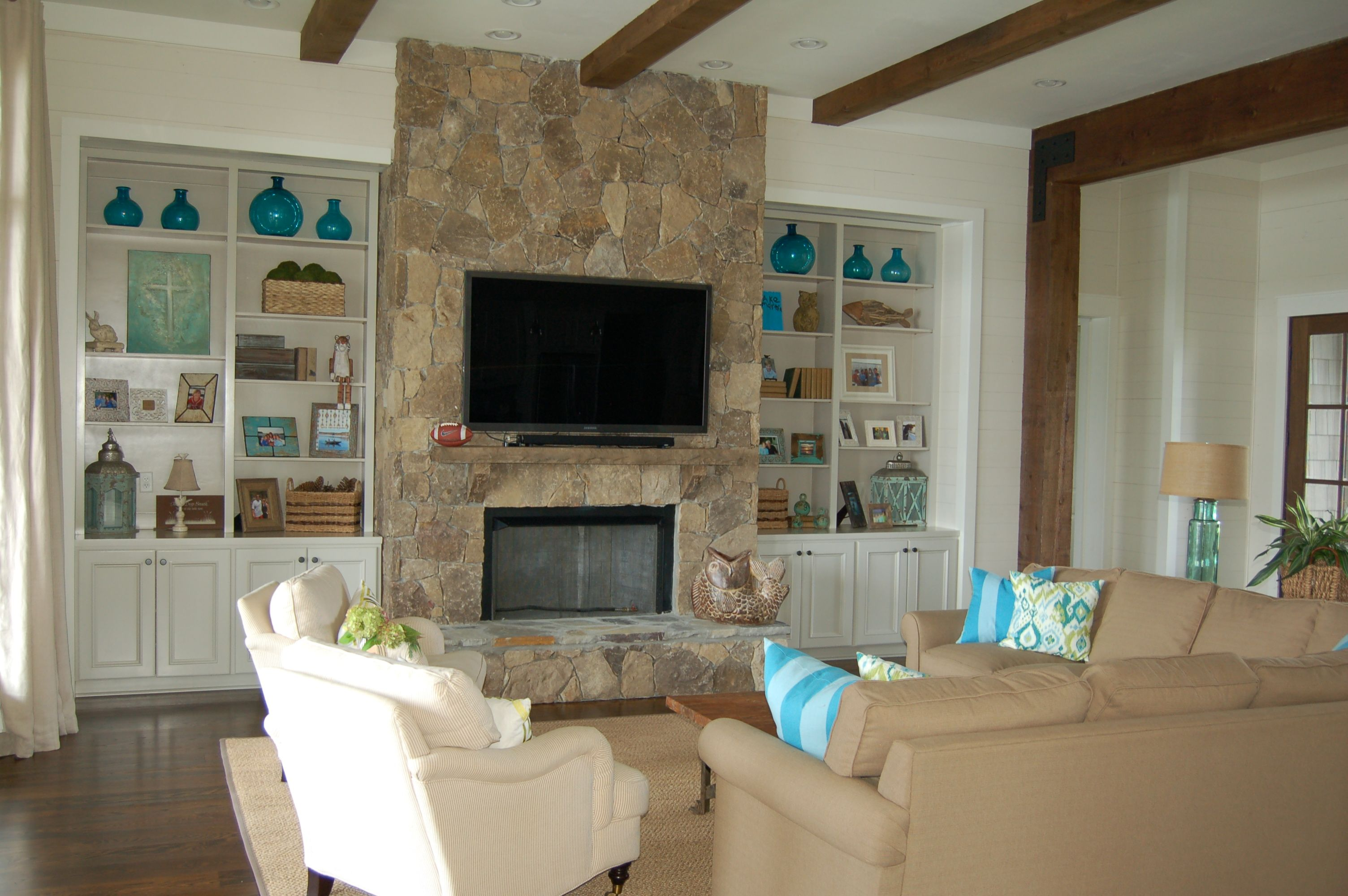 Lake House Stone Fireplace House Plan Designed By Frusterio Design