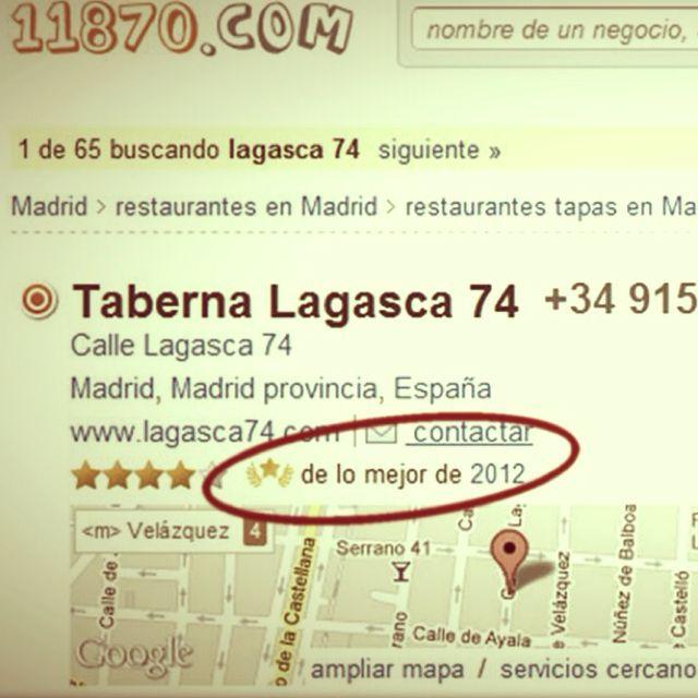 Lagasca74 entre los mejores del 2012 según los usuarios de 11870. Orgullos y agradecidos!
