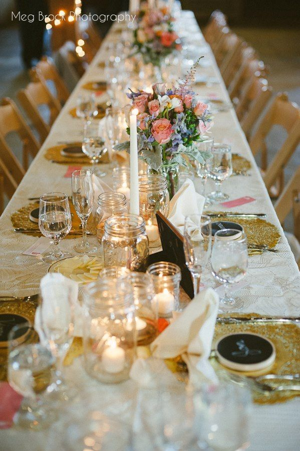 Gold Doilies instead of expensive charger plates. LOVE this idea ...