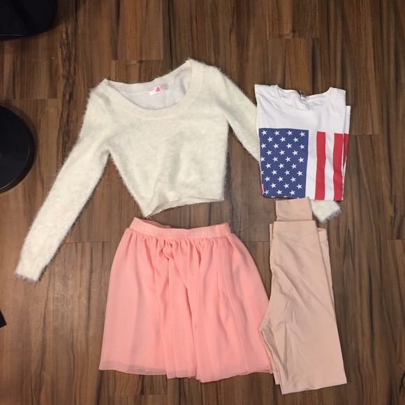 American Apparel bundle! Sheer baby pink spandex leggings size small, sheet salmon flowy skirt size small, crop white fuzzy sweater small, American flag t shirt men XS. All items only worn once or twice, in great condition! American Apparel Tops Crop Tops