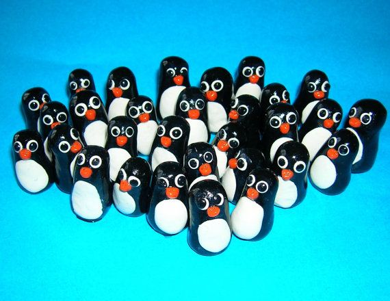 Super Mini Penguins  Set of 10 by cobcreations on Etsy,