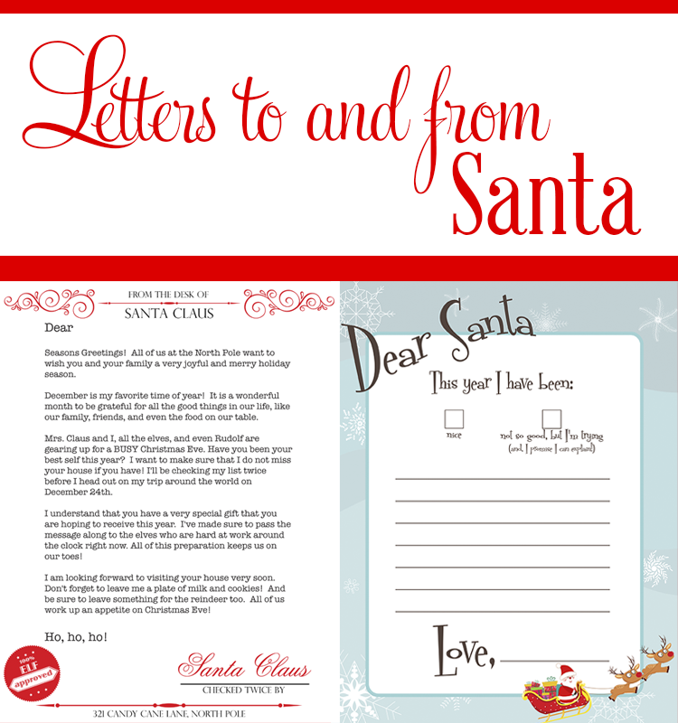 A template letter for your kids to write to Santa, and a