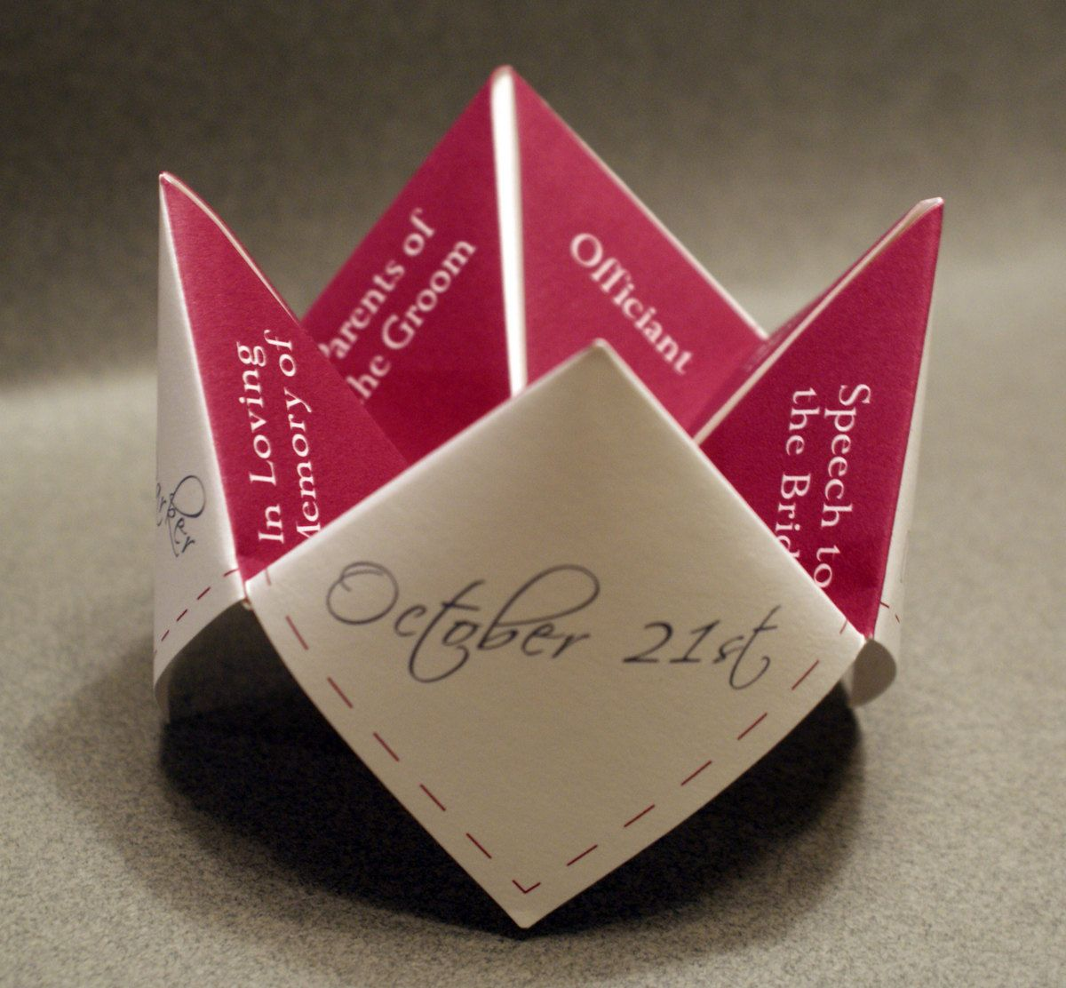 Wedding Program Cootie Catcher DIY Ceremony Favor Decoration