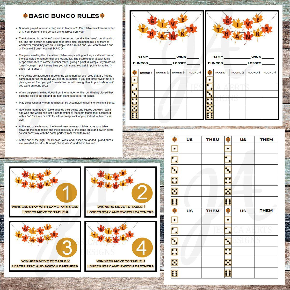 Thanksgiving Printable Bunco Cards Etsy In 2020 Bunco Thanksgiving Printables Cards