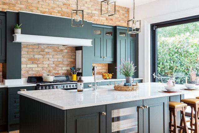 Dark Green Cabinets Add Elegance To A Welcoming Kitchen Houzz In 2020 Dark Green Kitchen Green Cabinets Green Kitchen Walls