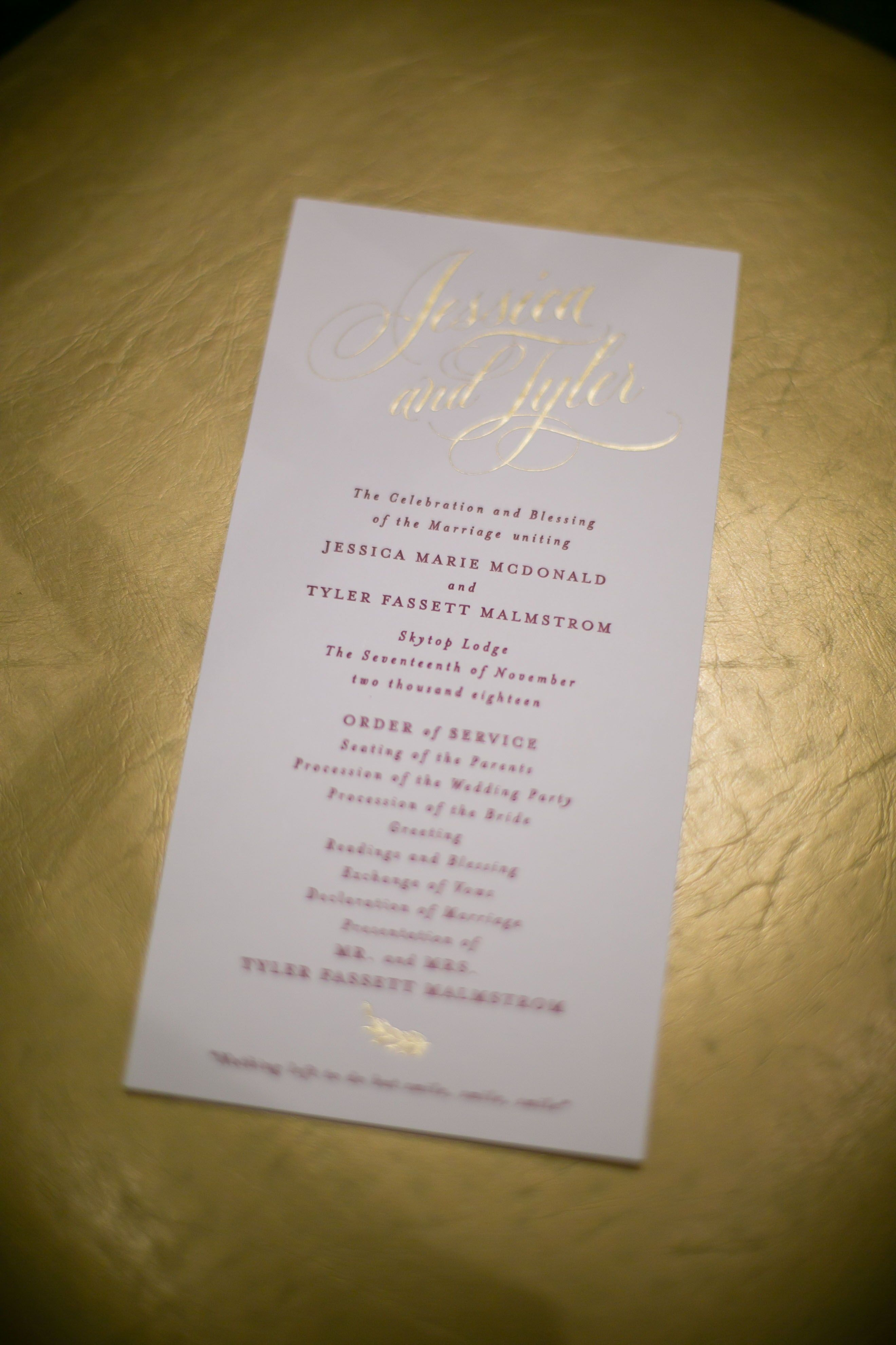 A Stunning Ceremony Program Filled With Gold Laser Touches And Wine Colored Font See More W Outdoor Wedding Inspiration Wedding Classic Wedding Event Planning