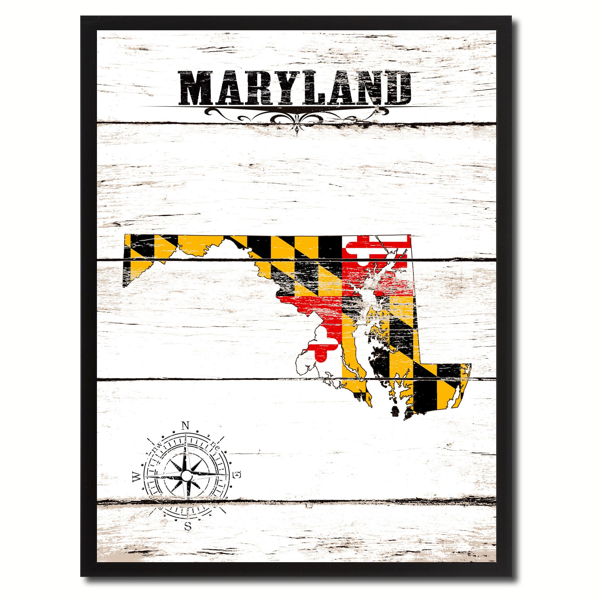 "Maryland State Accent Map Flag, 7""x9"" white Canvas Print, Black Custom Frame"